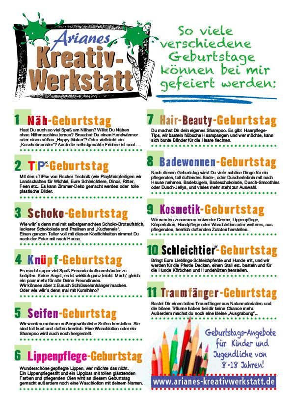 """Flyer """"20 Geburtstags-Angebote"""" für Arianes Kreativ-Werkstatt, Travemünde"""