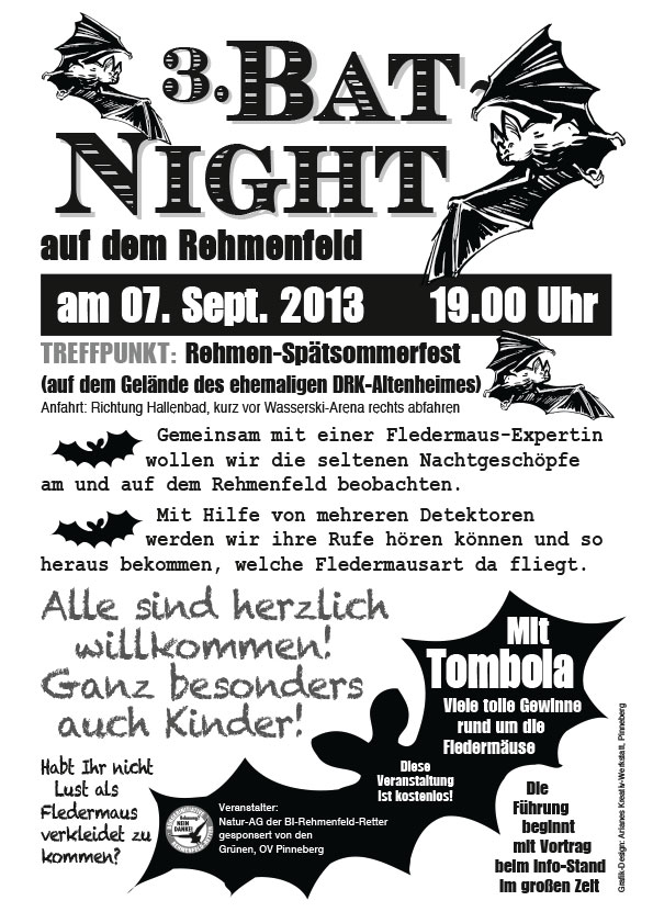 "Flyer ""Bat-Night"", Bürgerinitiative Rehmenfeld-Retter, Pinneberg"