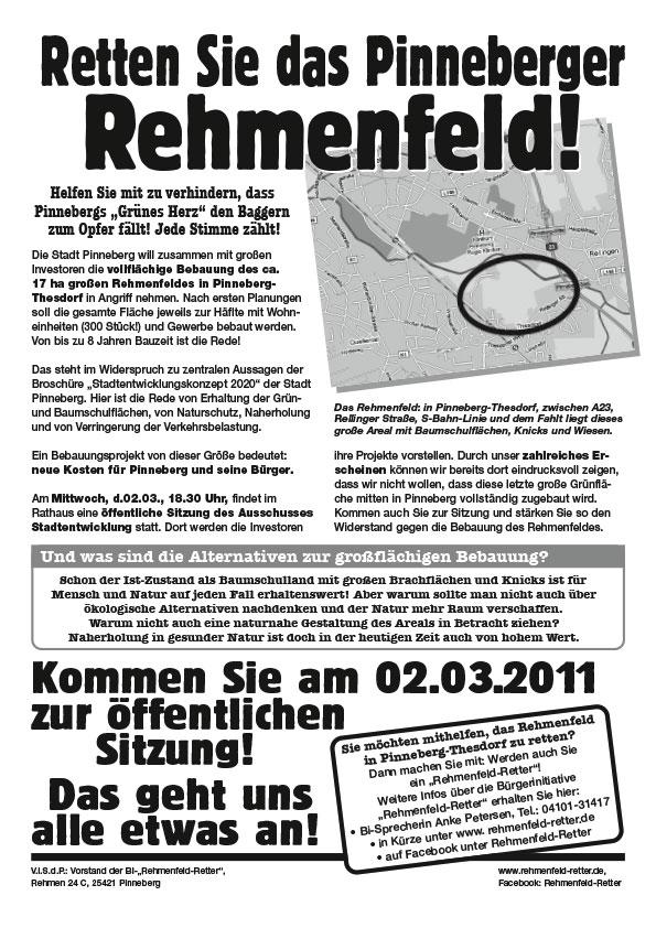 "Flyer ""Rehmenfeld"", Bürgerinitiative Rehmenfeld-Retter, Pinneberg"