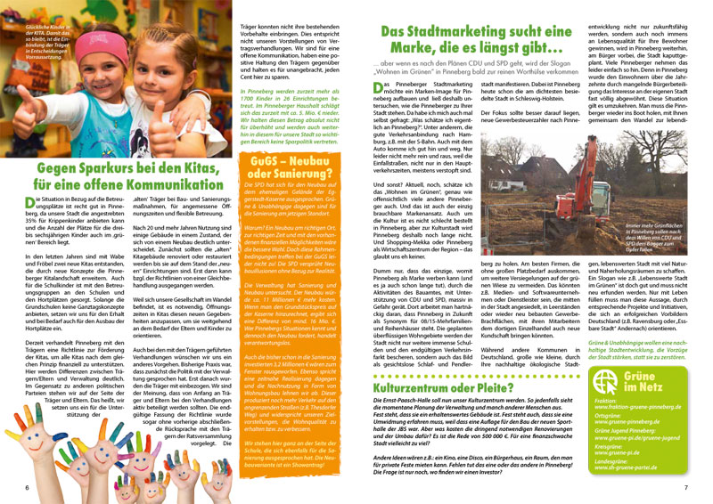 "Wahlkampfmagazin ""das BLATTGRÜN"", Grüne, Pinneberg"