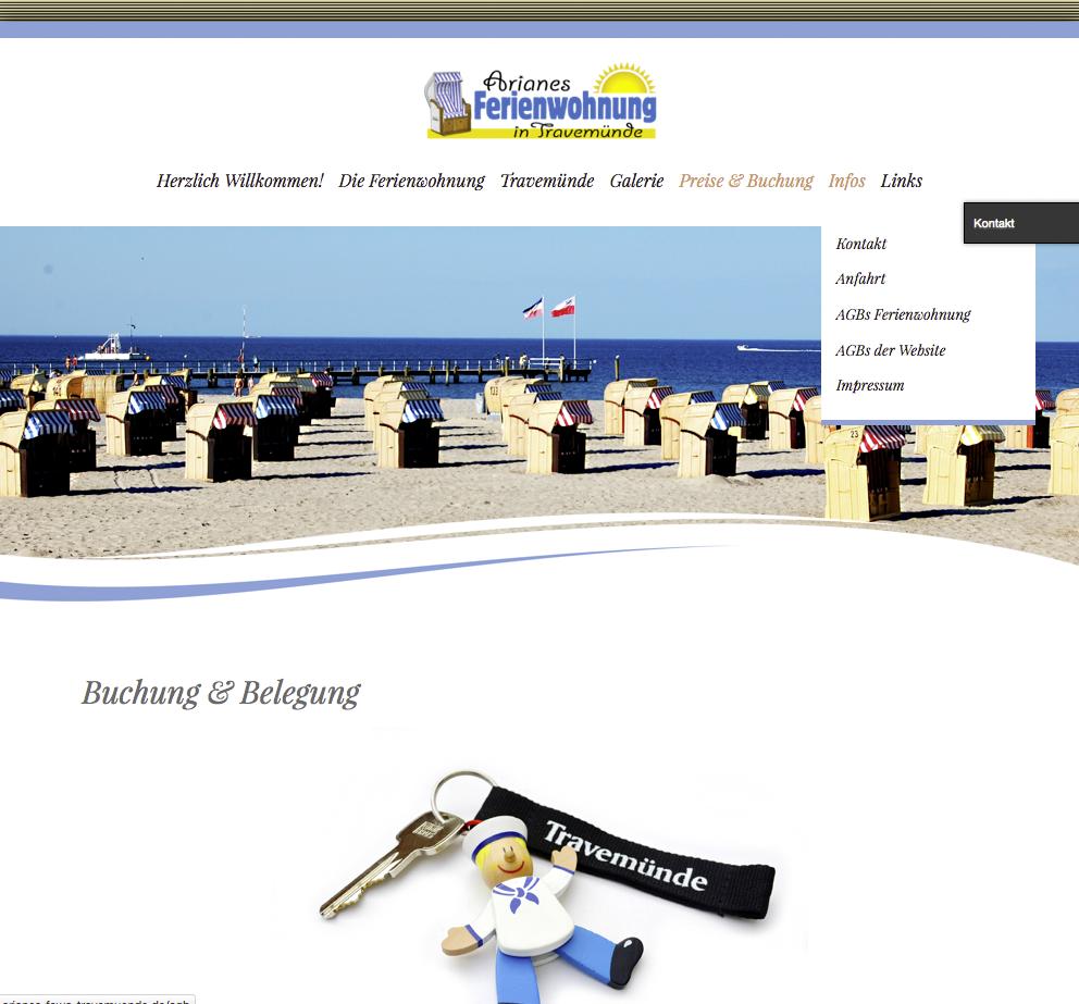 """Website """"Arianes Ferienwohnung in Travemünde"""""""