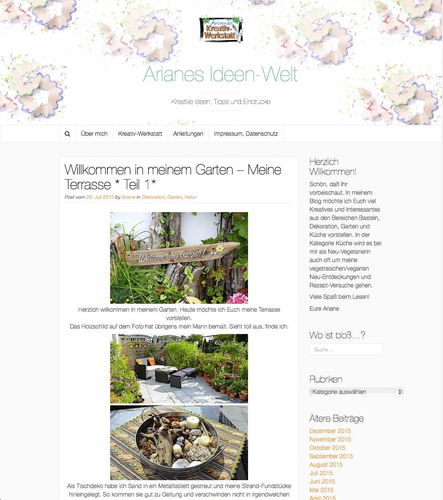"Blog ""Arianes Ideen-Welt"""