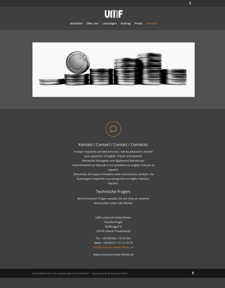 "Website ""UMF - Universal Media Filmtec"""