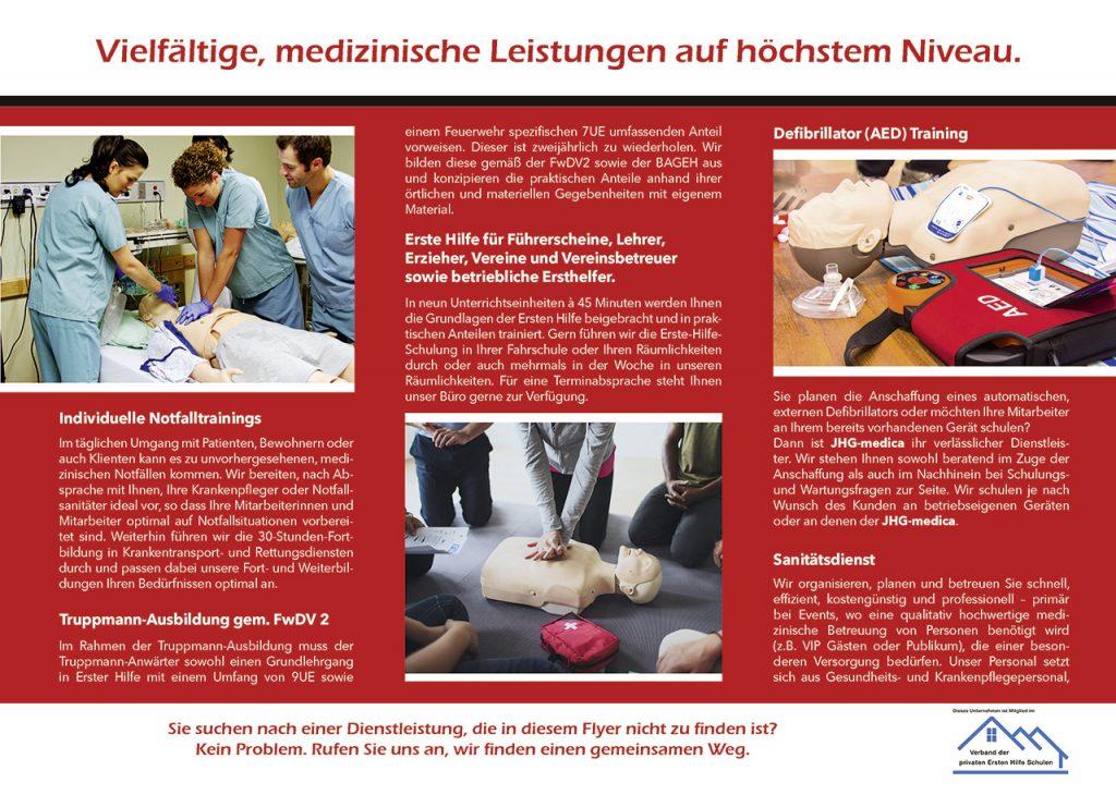 Falzflyer für JHG medica, Banzkow